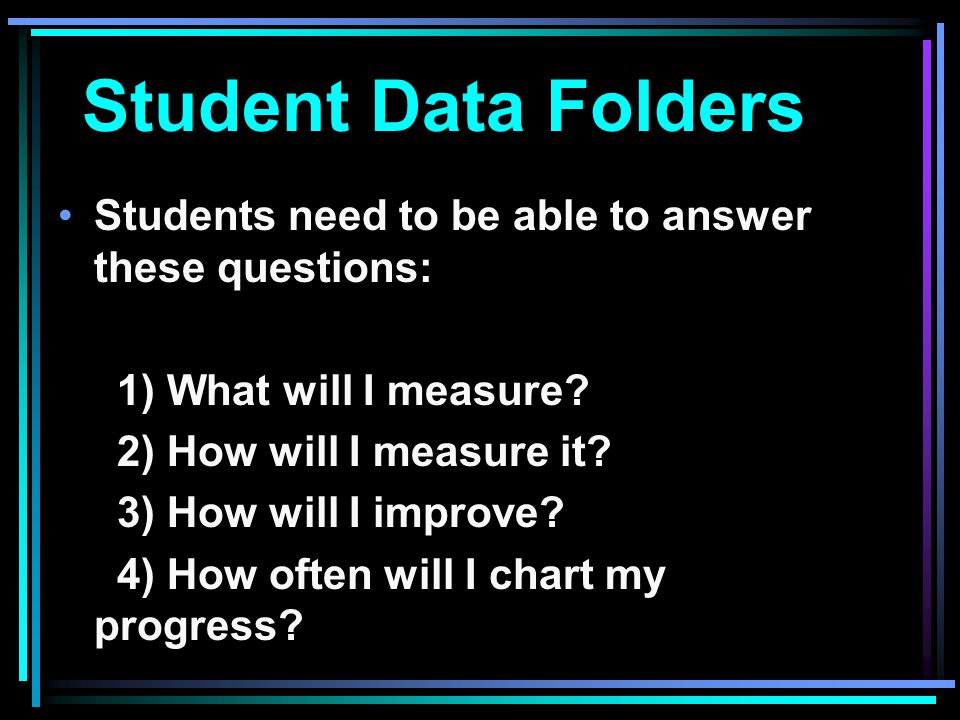 Student Data Folders Students need to be able to answer these questions: 1) What will I measure 2) How will I measure it