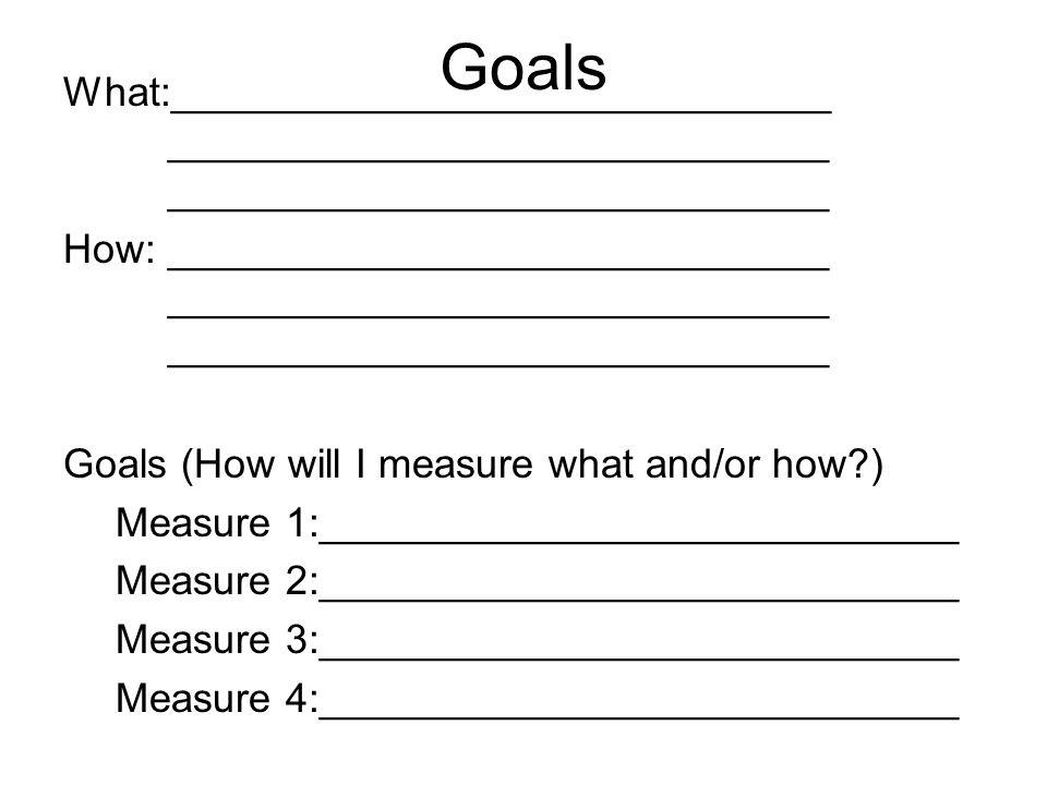 Goals What:_____________________________ _____________________________ _____________________________.