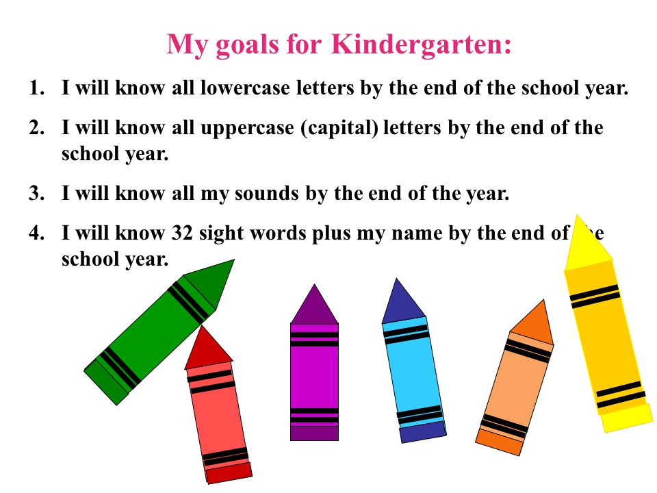 My goals for Kindergarten:
