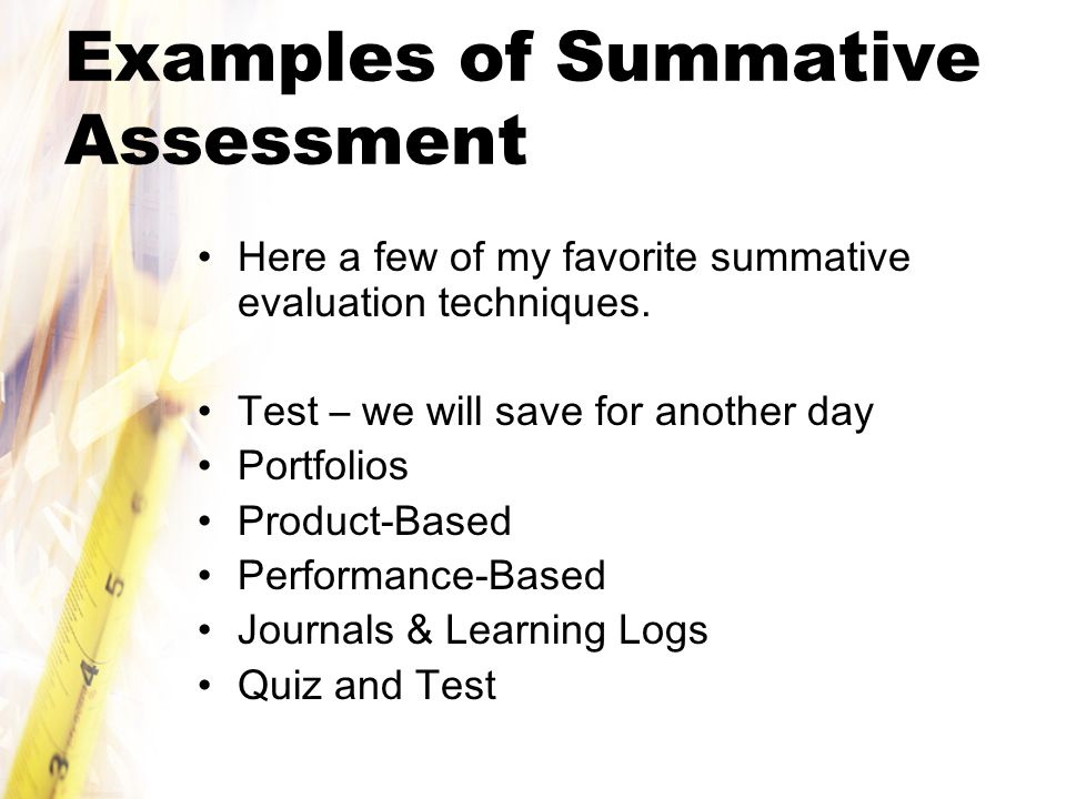 Examples of Summative Assessment