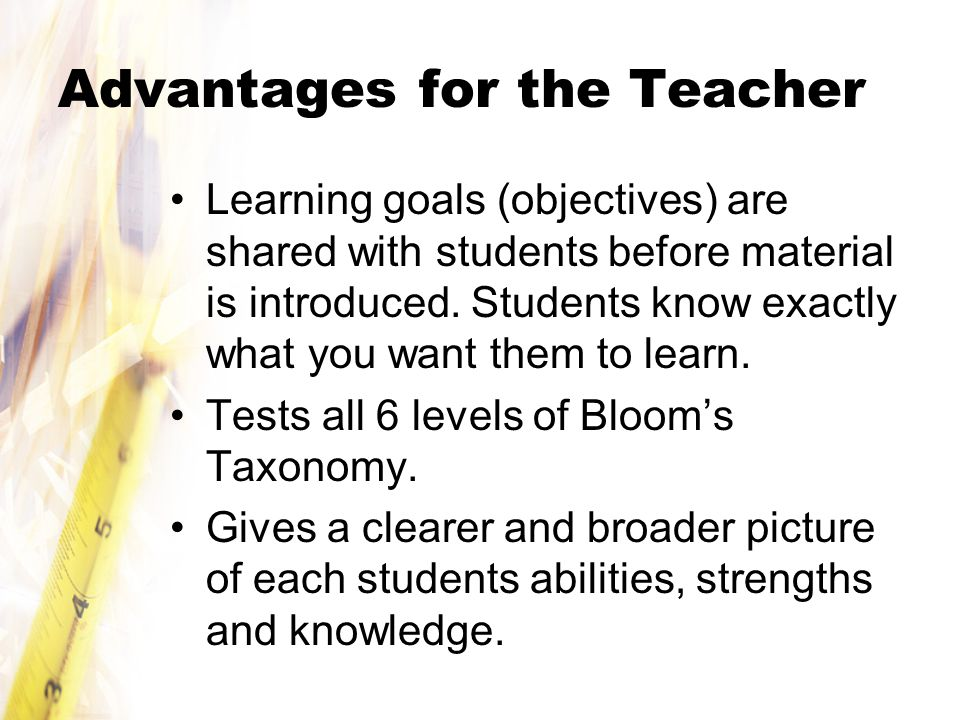 Advantages for the Teacher