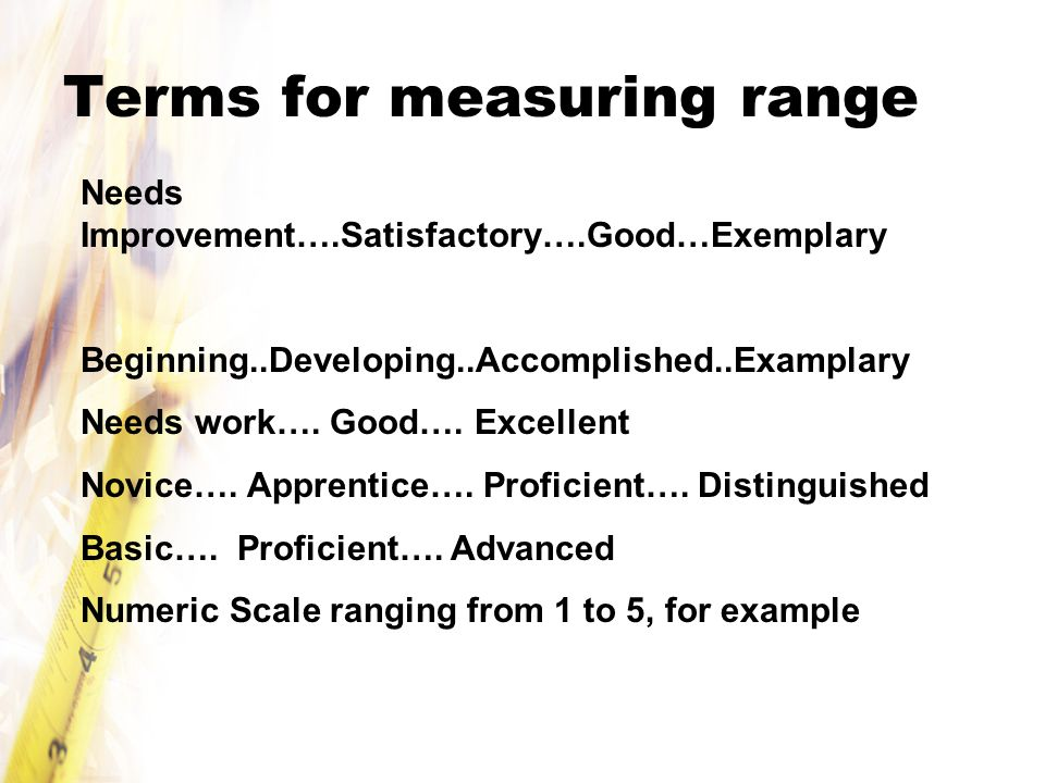 Terms for measuring range