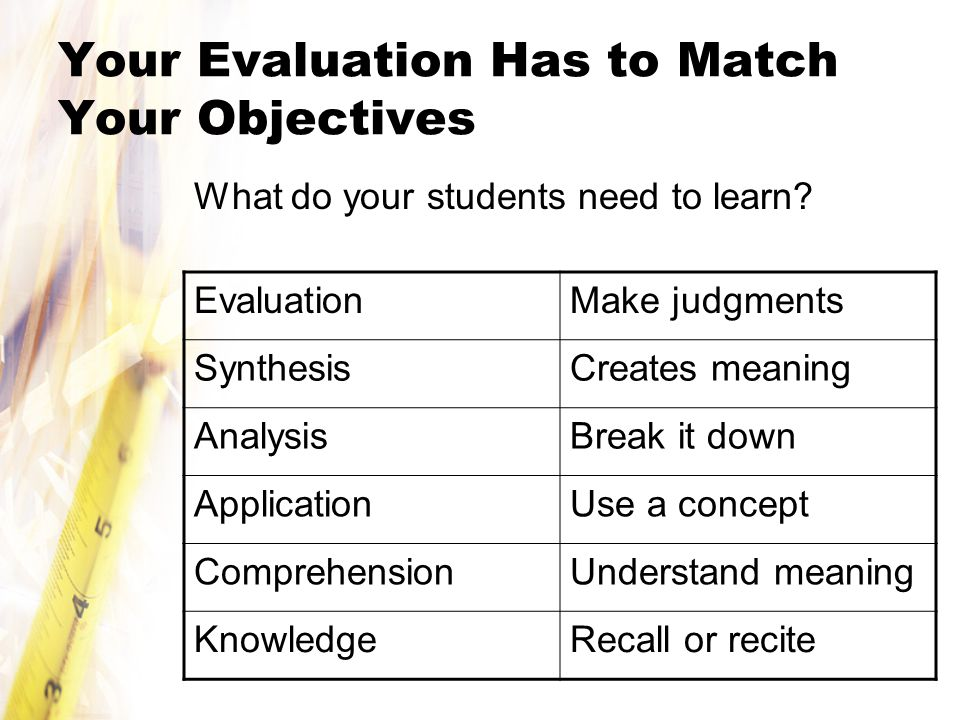 Your Evaluation Has to Match Your Objectives
