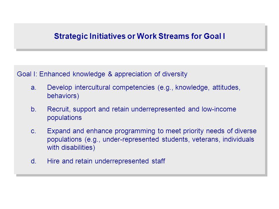 Strategic Initiatives or Work Streams for Goal I