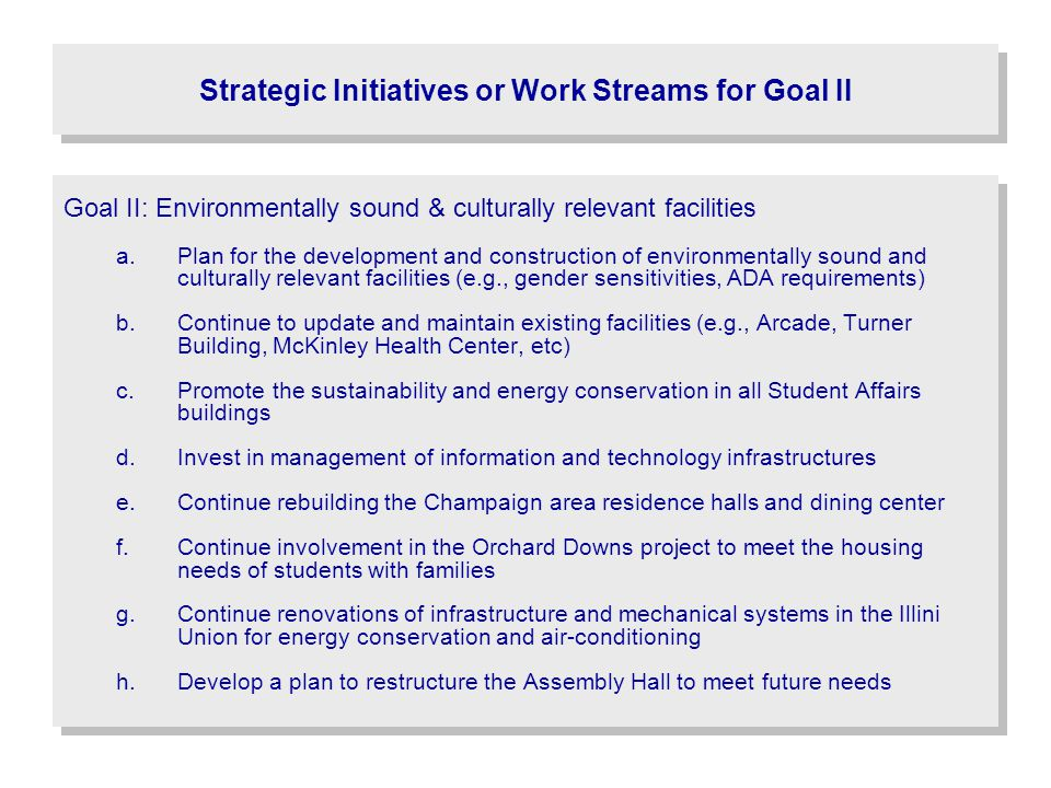 Strategic Initiatives or Work Streams for Goal II