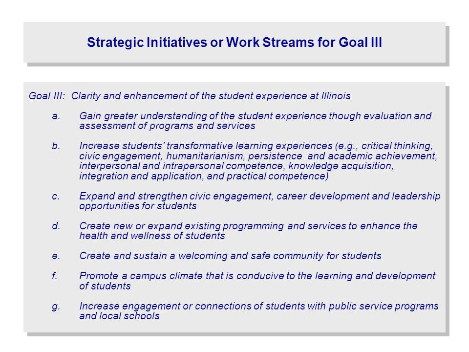 Strategic Initiatives or Work Streams for Goal III