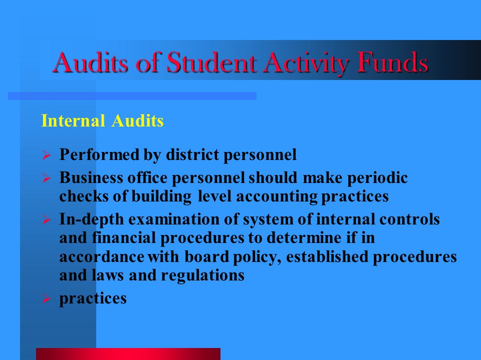 Audits of Student Activity Funds
