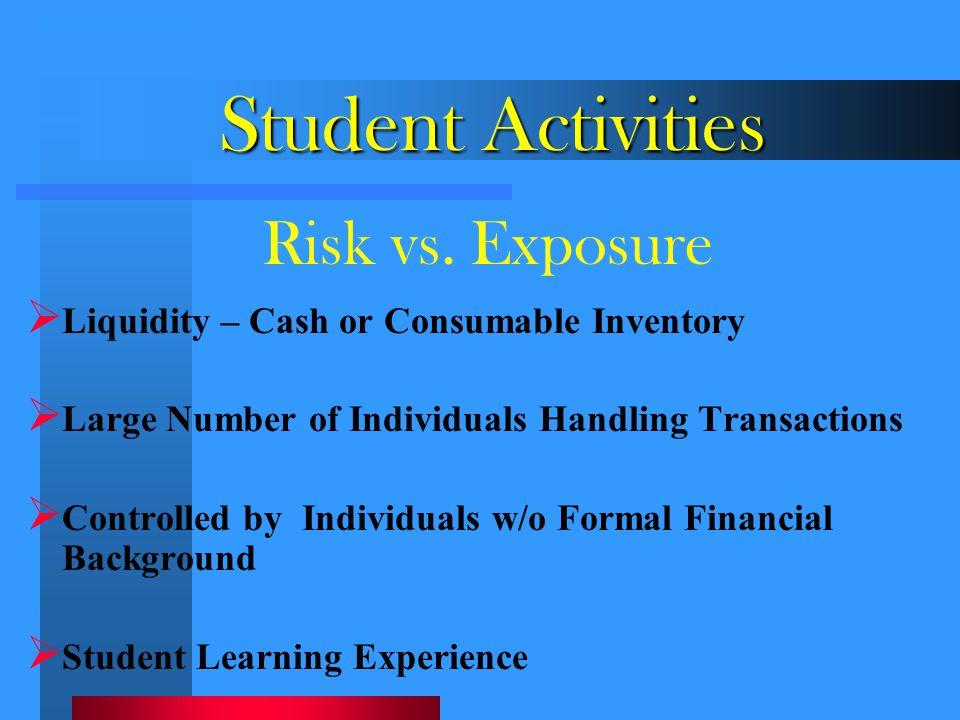 Student Activities Risk vs. Exposure