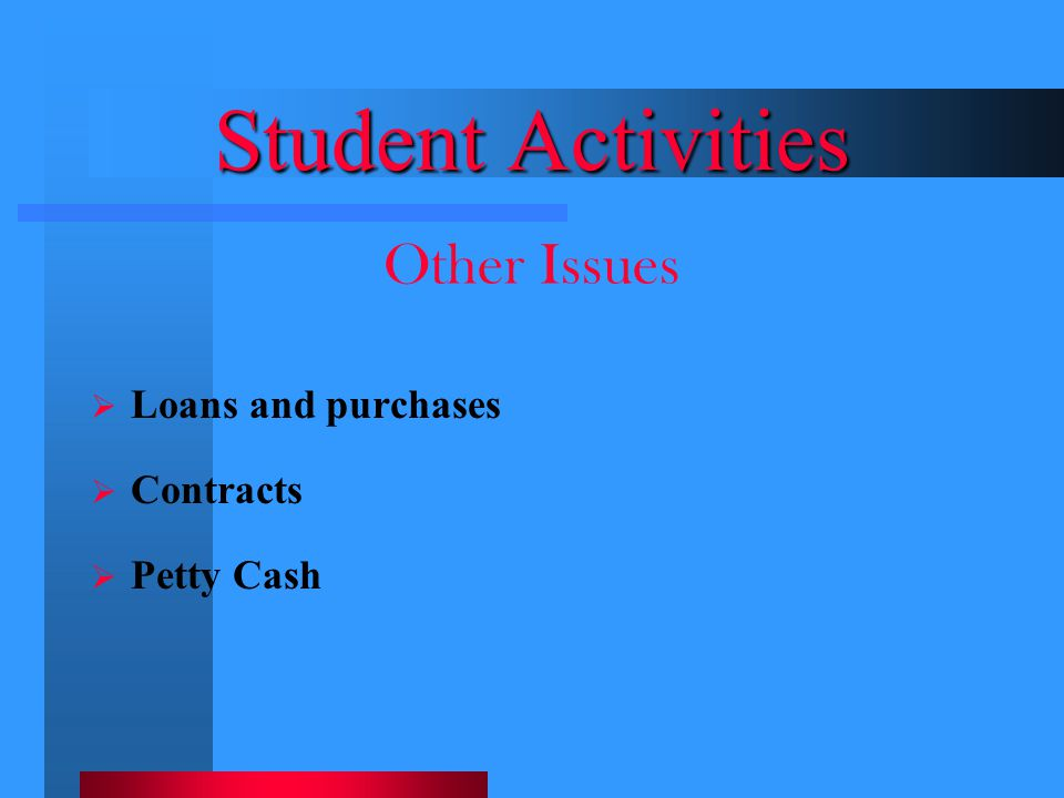 Student Activities Other Issues Loans and purchases Contracts