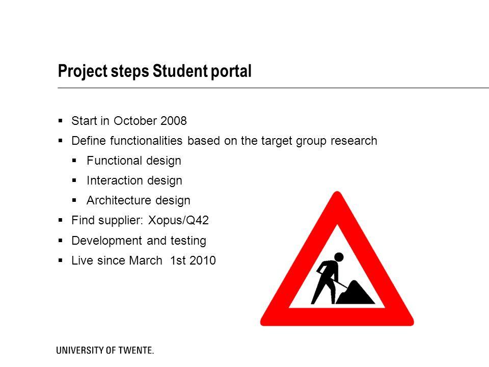 Project steps Student portal