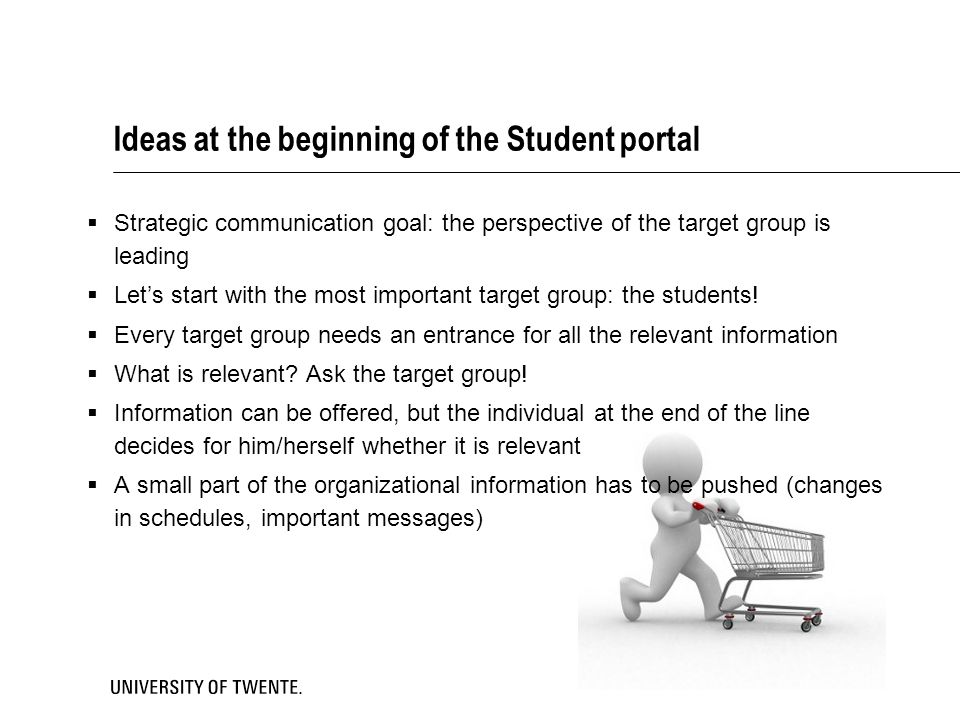 Ideas at the beginning of the Student portal