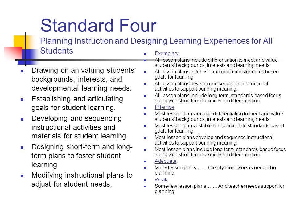 Standard Four Planning Instruction and Designing Learning Experiences for All Students
