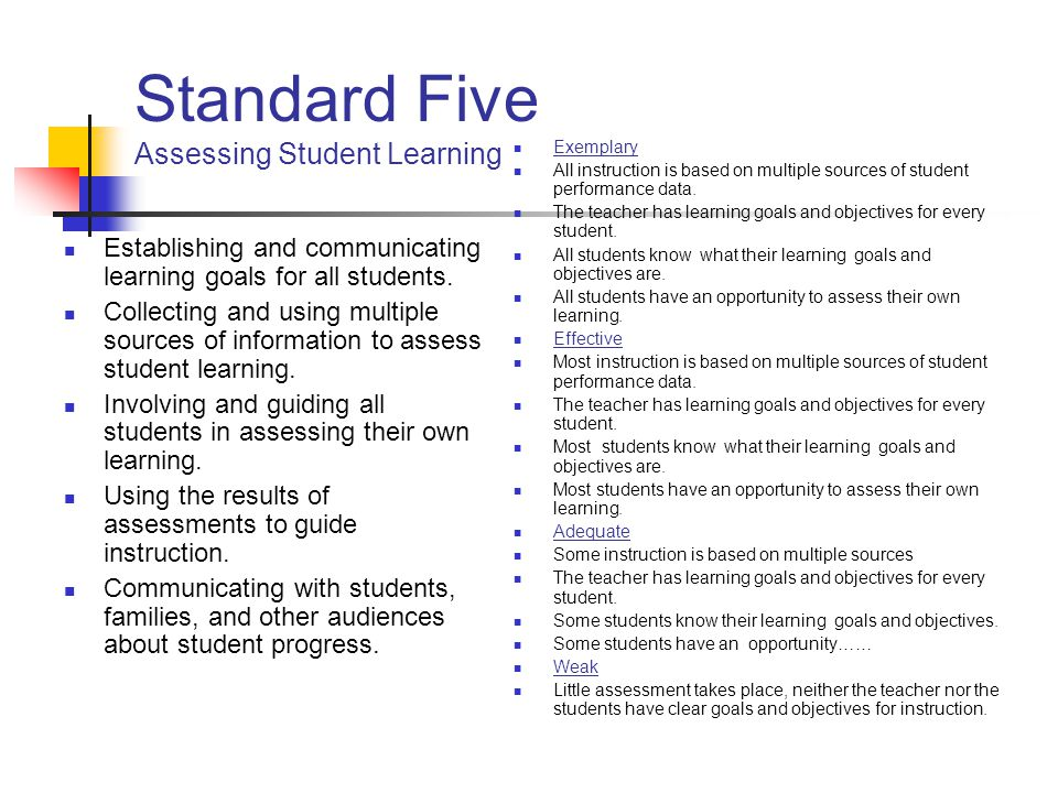 Standard Five Assessing Student Learning
