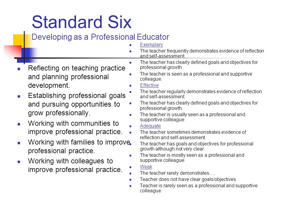 Standard Six Developing as a Professional Educator