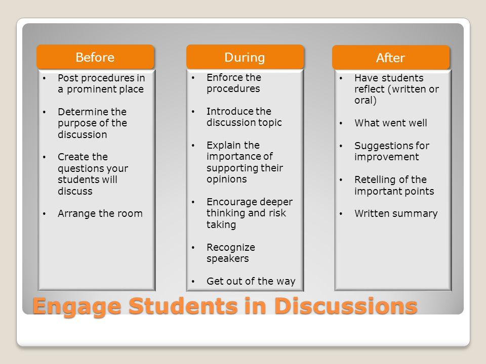 Engage Students in Discussions