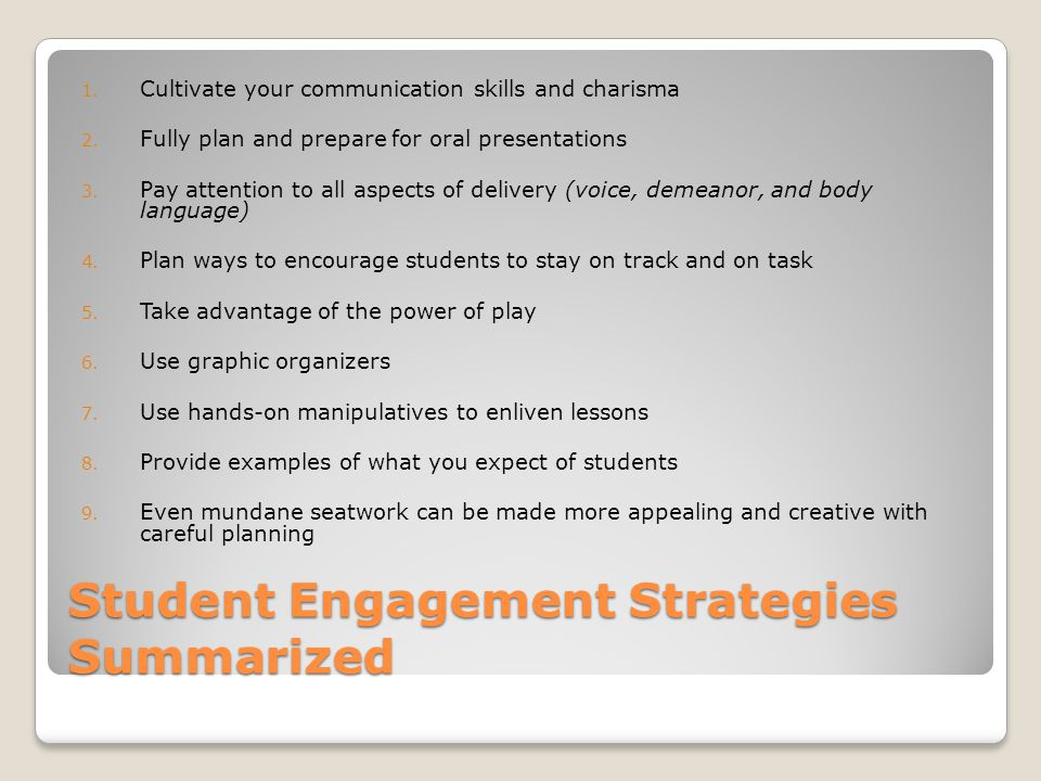Student Engagement Strategies Summarized