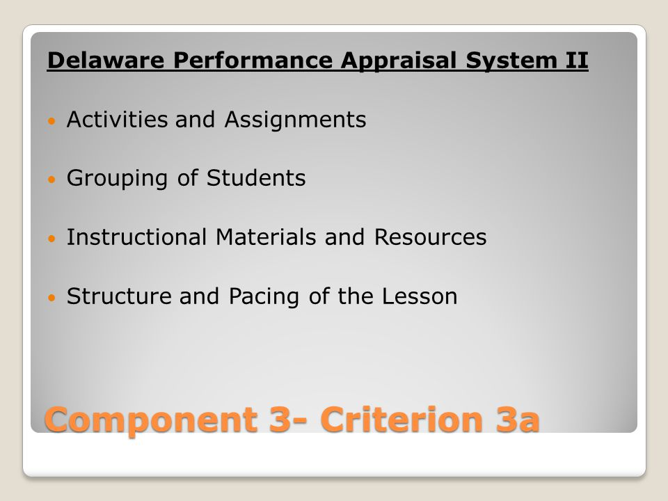 Component 3- Criterion 3a