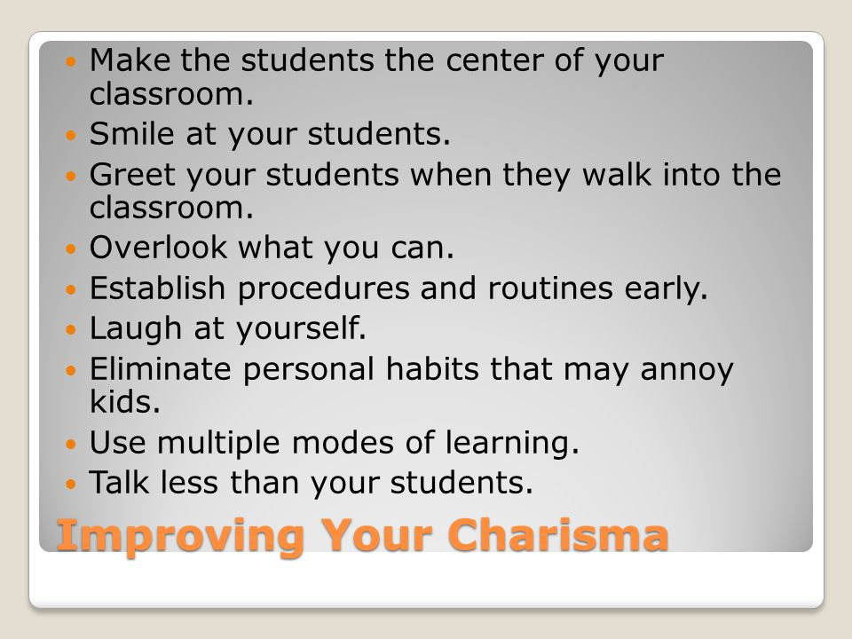 Improving Your Charisma