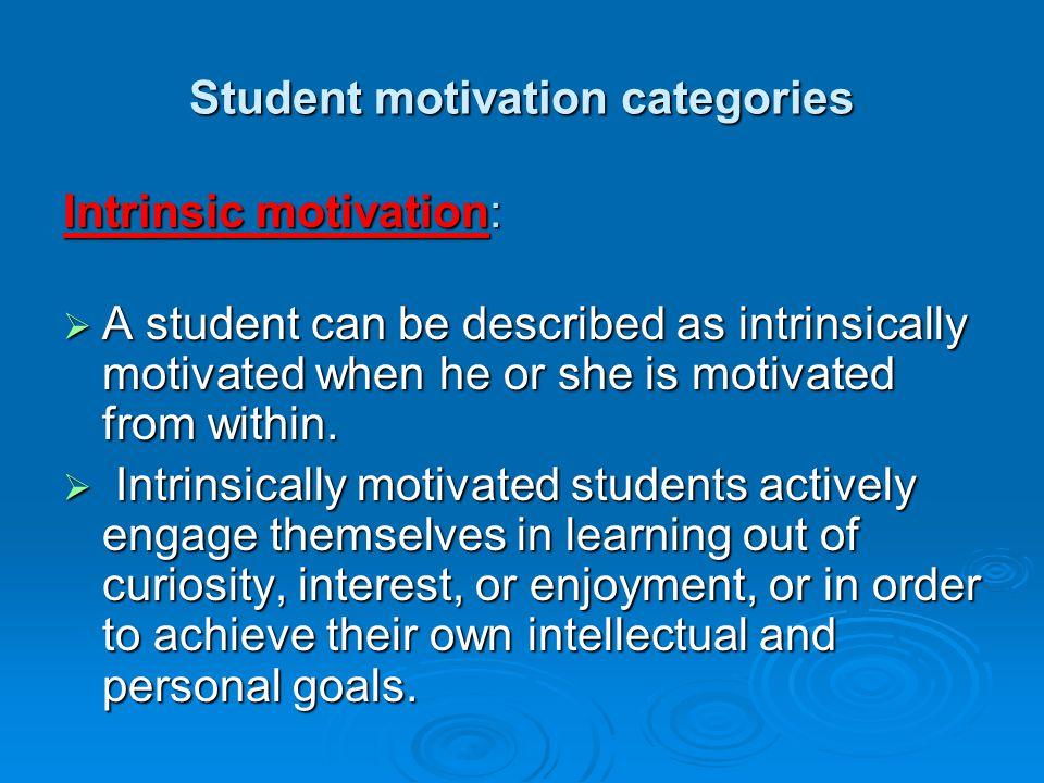 Student motivation categories