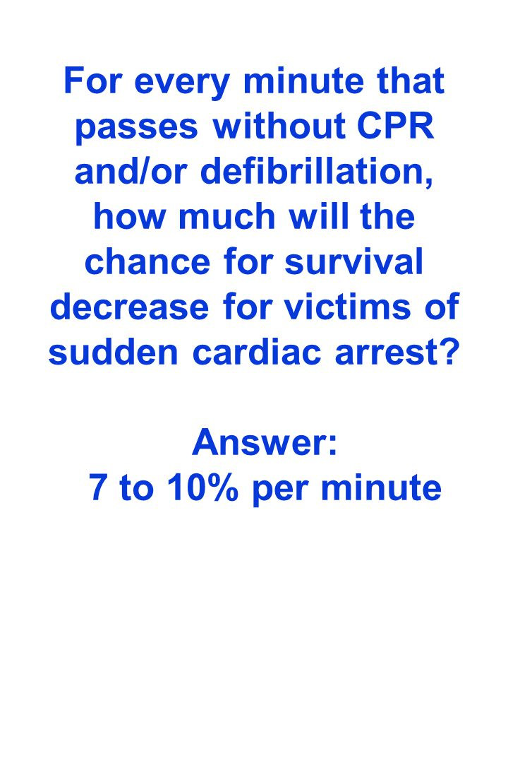For every minute that passes without CPR and/or defibrillation, how much will the chance for survival decrease for victims of sudden cardiac arrest