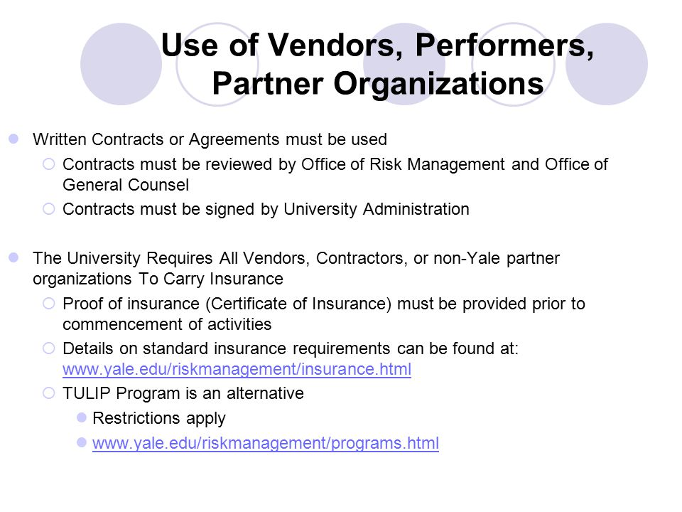 Use of Vendors, Performers, Partner Organizations