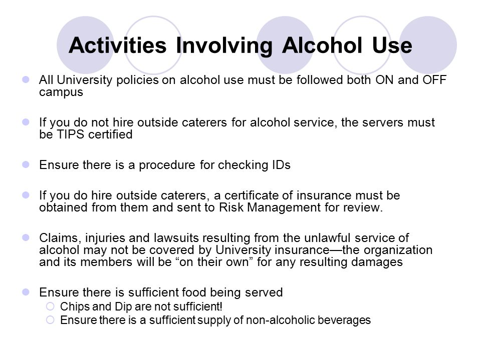 Activities Involving Alcohol Use