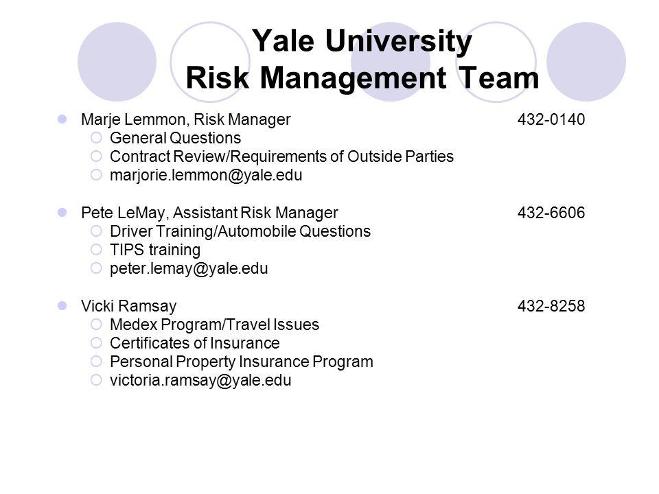 Yale University Risk Management Team