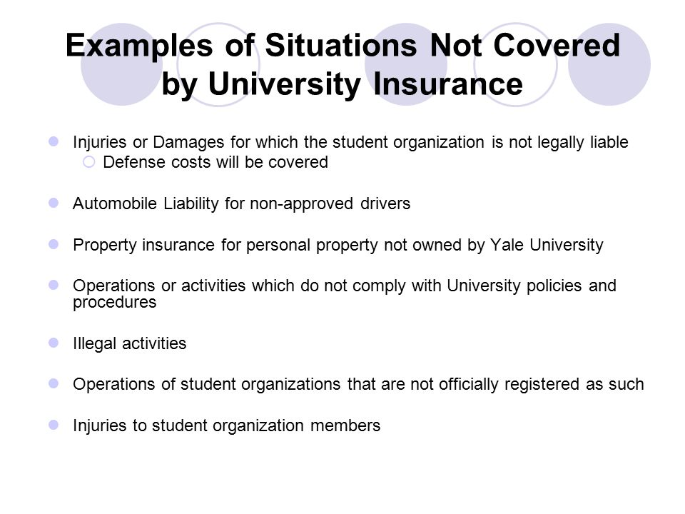 Examples of Situations Not Covered by University Insurance