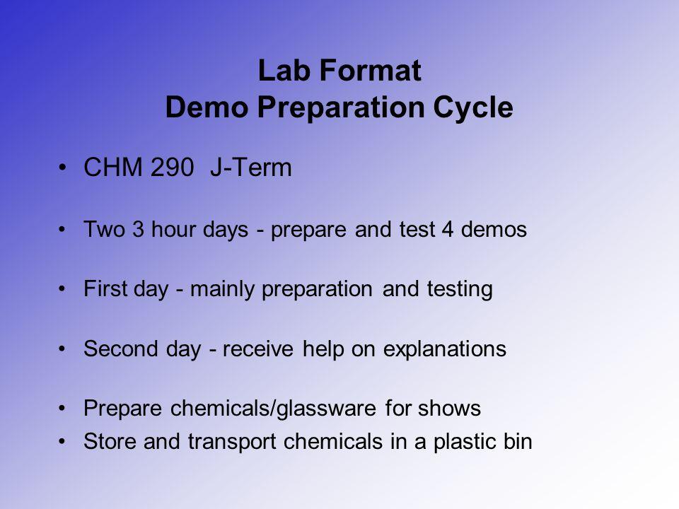 Lab Format Demo Preparation Cycle