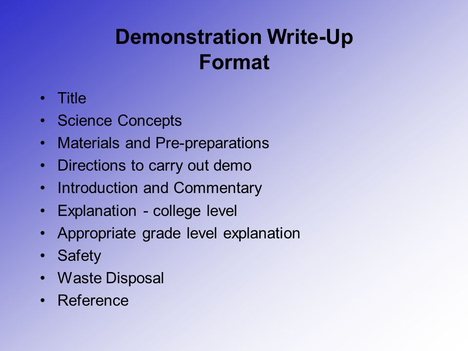 Demonstration Write-Up Format