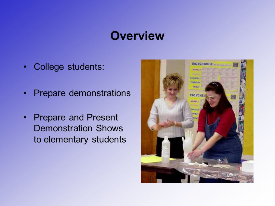 Overview College students: Prepare demonstrations