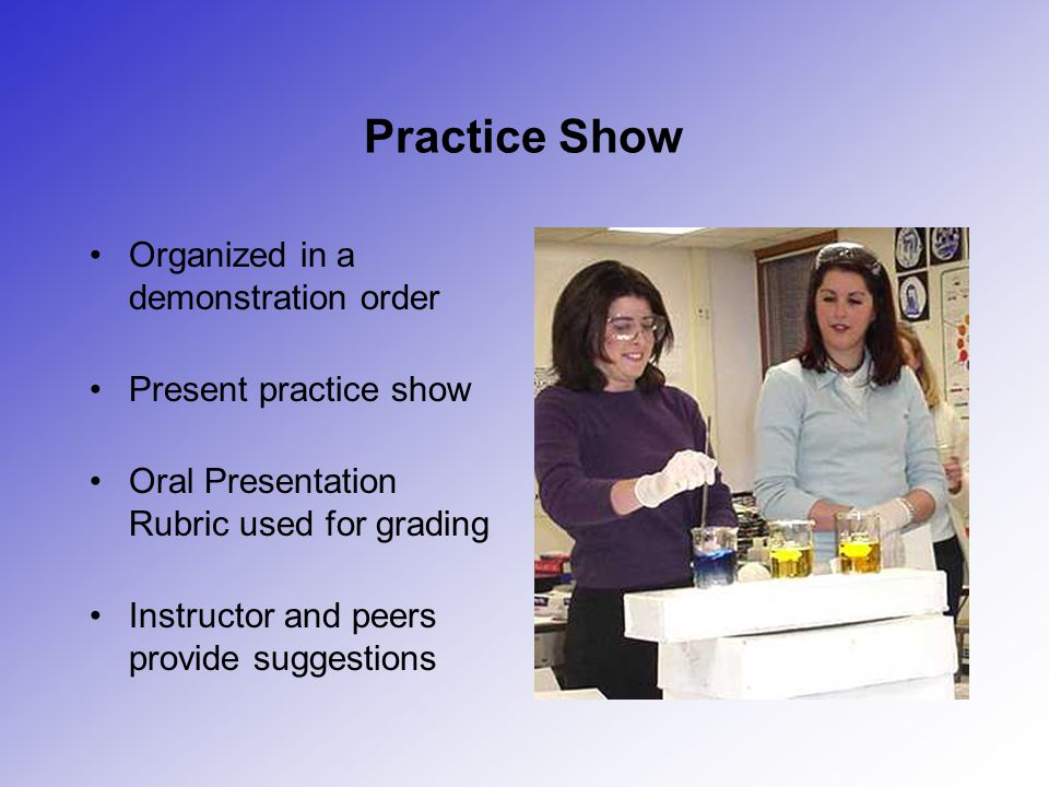 Practice Show Organized in a demonstration order Present practice show