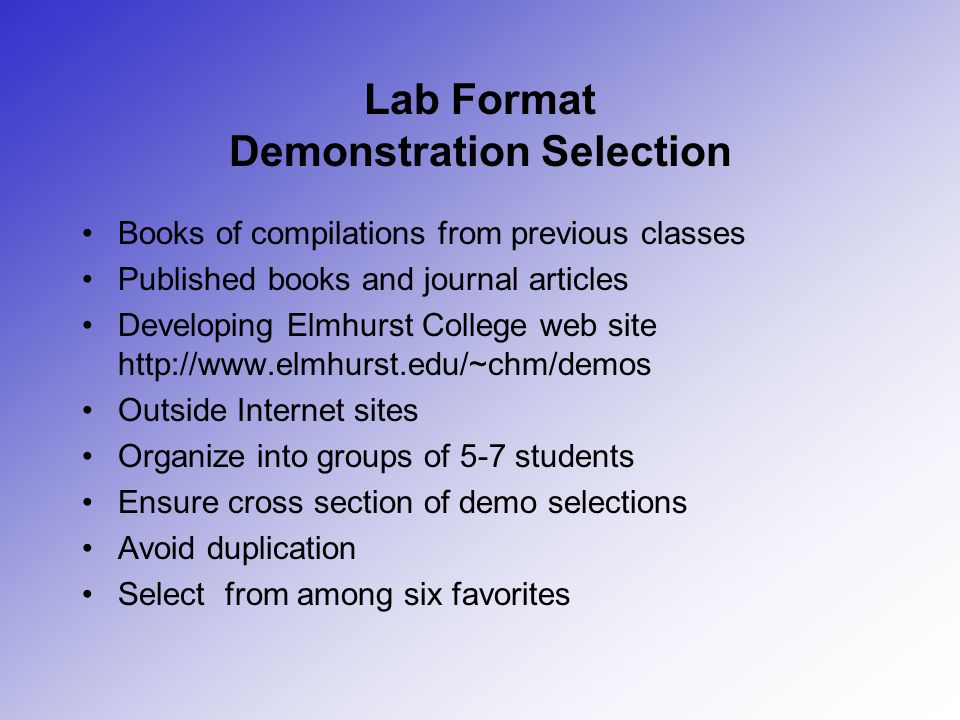 Lab Format Demonstration Selection