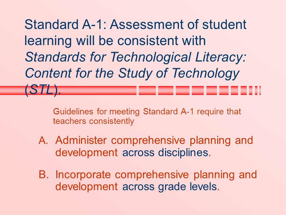 Standard A-1: Assessment of student learning will be consistent with Standards for Technological Literacy: Content for the Study of Technology (STL).