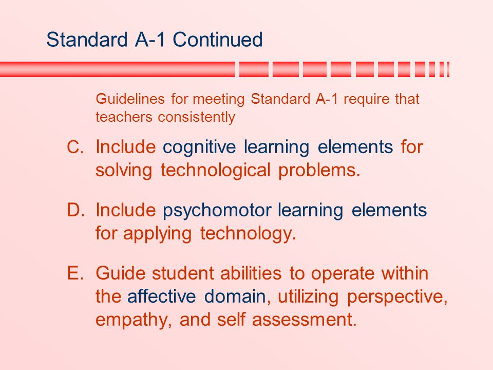 Standard A-1 Continued Guidelines for meeting Standard A-1 require that teachers consistently.