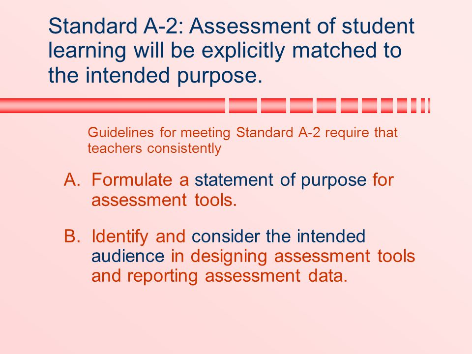 Standard A-2: Assessment of student learning will be explicitly matched to the intended purpose.