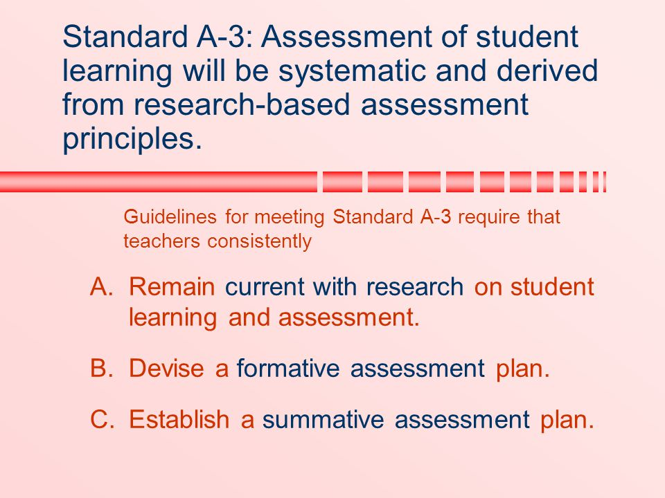 Standard A-3: Assessment of student learning will be systematic and derived from research-based assessment principles.