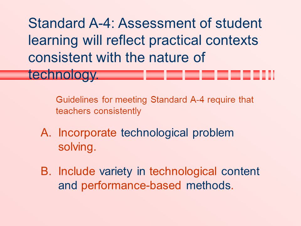 Standard A-4: Assessment of student learning will reflect practical contexts consistent with the nature of technology.