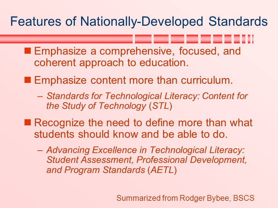 Features of Nationally-Developed Standards