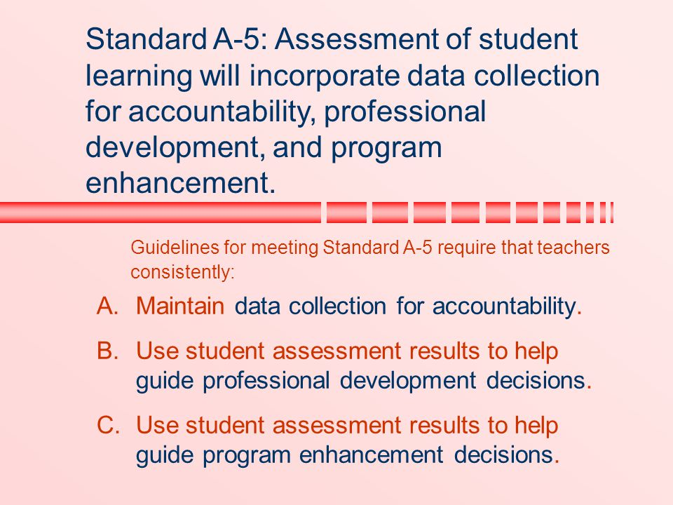 Standard A-5: Assessment of student learning will incorporate data collection for accountability, professional development, and program enhancement.