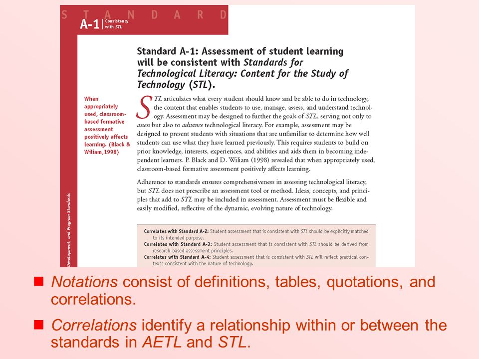 (Read 1st bullet) Definitions and quotations appearing in the margins offer additional emphasis or explanation. (Read 2nd bullet) Some standards' correlations have been inserted in the text of chapters 3, 4, and 5 immediately following the standard narratives.