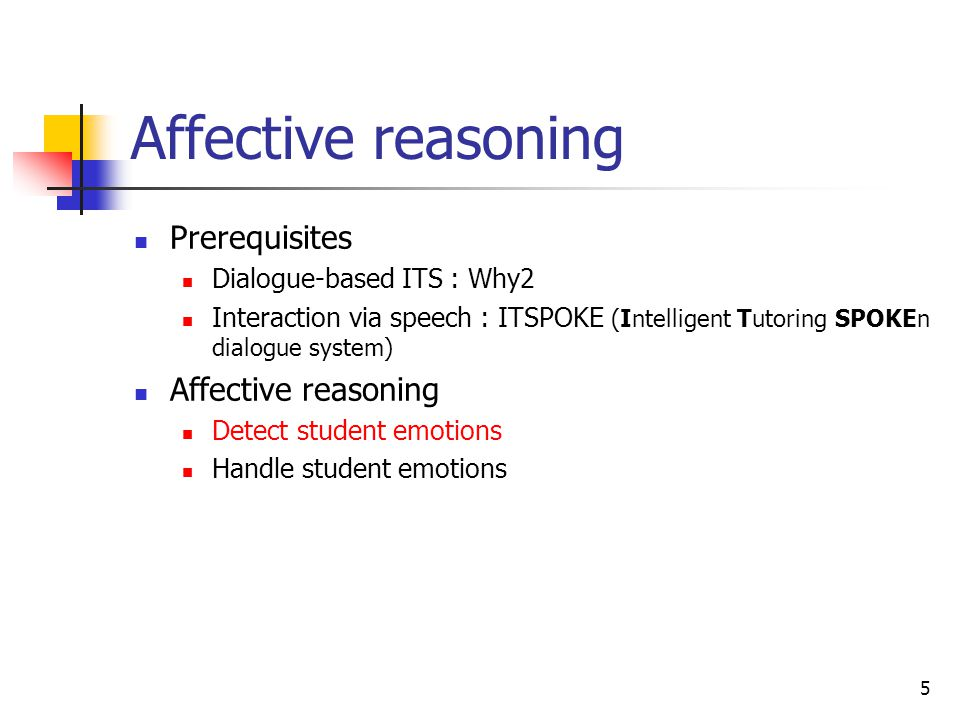 Affective reasoning Prerequisites Affective reasoning