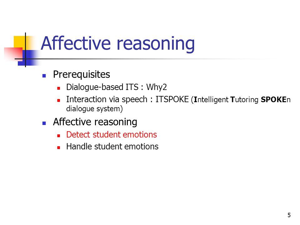 Affective reasoning Prerequisites Affective reasoning