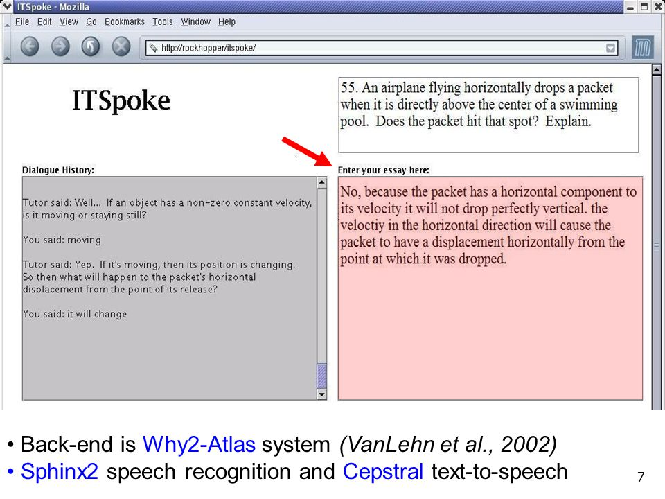 Back-end is Why2-Atlas system (VanLehn et al., 2002)