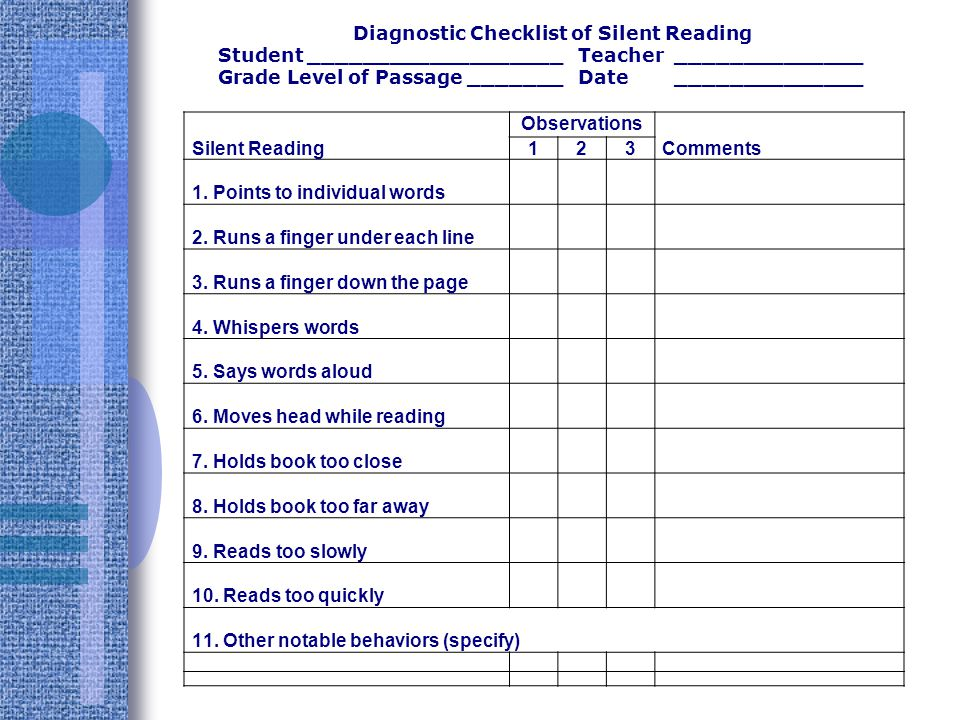 Diagnostic Checklist of Silent Reading