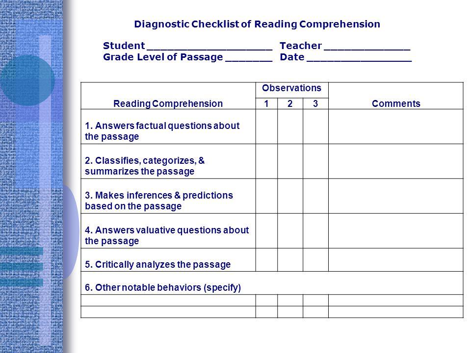 Diagnostic Checklist of Reading Comprehension Reading Comprehension