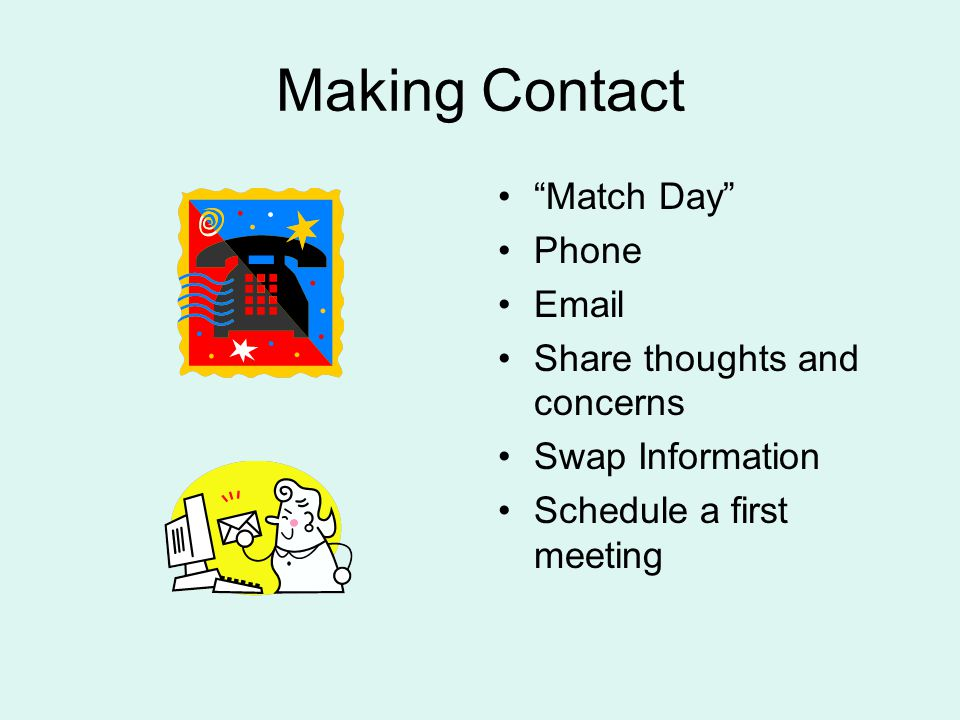 Making Contact Match Day Phone Email Share thoughts and concerns