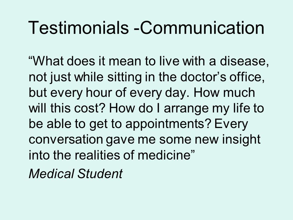 Testimonials -Communication