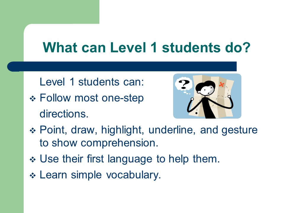 What can Level 1 students do