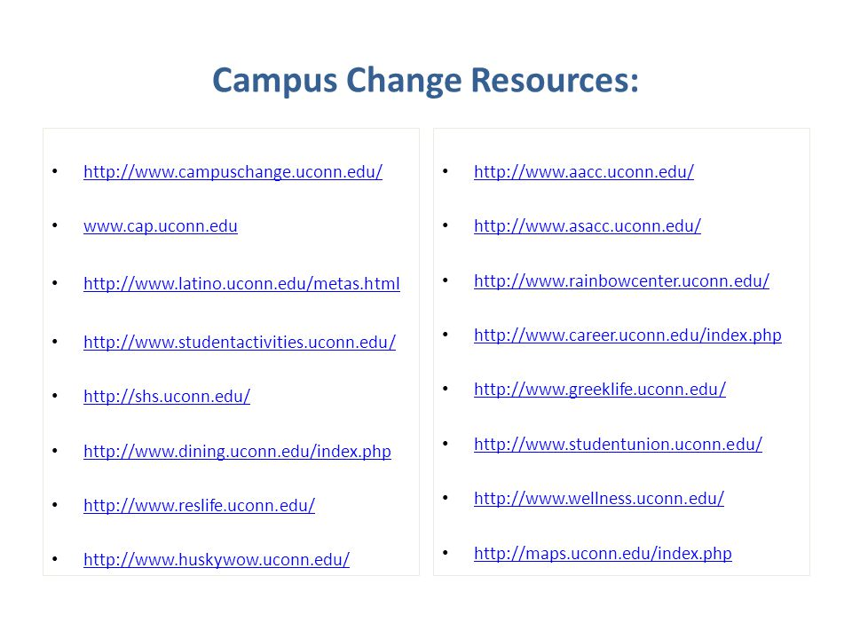 Campus Change Resources:
